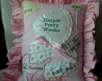 Baby Girl or Boy Embroidered Appliqued Pillow