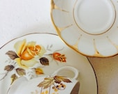Mismatch Trio Brown and Yellow Leaf  Gold Fall Leaves Made in England Teacup & Saucer plate Royal Vale Staffordshire Vintage Gift Set