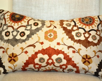 Decorative Throw Pillow 14x22 inch, medalion pillow, Decorative Accent Pillows in spice, natural, pillow cover great gift