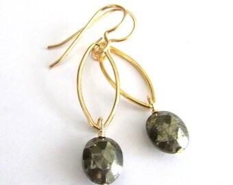 Pyrite Earrings, Gemstone Gold Earrings, Gray Gold Earrings, Gold Gemstone Earrings, Semi-Precious Gemstone Gold Earring, Fools Gold Earring