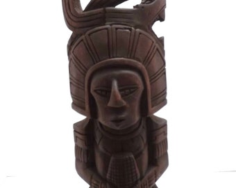 Mayan Mexican wooden carving man figurine in headdress
