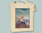 De Dion Bouton French Cycles Ad on Natural or Black Canvas Tote - Selection of sizes available