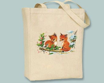 Adorable Vintage Foxes Illustration on canvas tote with Shoulder Strap -  Selection of sizes available