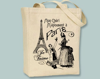 Romantic Marry me in Paris on Canvas Tote - Selection of  sizes available, ANY COLOR images