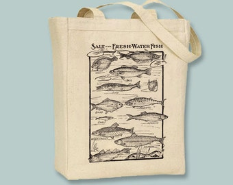 Vintage Fresh and Saltwater Fish Diagram Image on Canvas Tote with Shoulder Strap - Selection of sizes available