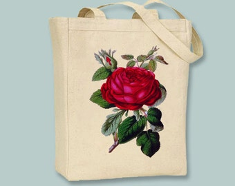 Vintage Red Rose Illustration on Canvas Tote with shoulder strap - Selection of sizes colors available