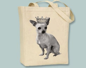 Adorable Crowned Chihuahua Natural or Black Canvas Tote -- Selection of  sizes available