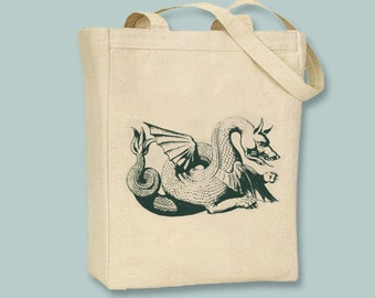Fantastic Vintage Dragon Canvas Tote -- Selection of sizes available, image in ANY COLOR