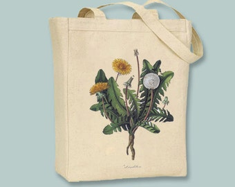 Beautiful Vintage Dandelion Canvas Tote - selection of sizes available