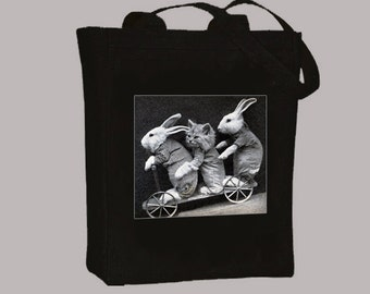 Whimsical Bunnies and Kitten on Wagon Vintage Print on BLACK or NATURAL Canvas Tote -  selection of sizes available