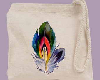 Colorful Feather Vintage Illustration Wristlet / Mini Tote / Bridesmaid clutch  - personalization available