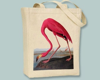 Flock of Flamingos Vintage Illustration Canvas Tote -- Selection of sizes available