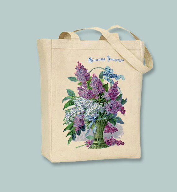 Vintage Lilacs in a Basket Canvas Tote -- Selection of sizes available
