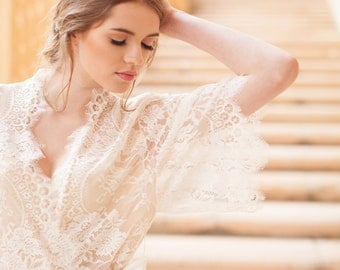 Swan Queen Bridal Lace robe kimono in Ivory with Silk champagne lining - style 104