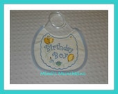 CLEARANCE / First Birthday Bib / Boy / Beautiful Machine Embroidered Design / ready to ship