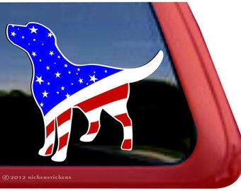 Lab Red White Blue | DC359USA-L | High Quality Adhesive Labrador  Vinyl Window Decal Sticker