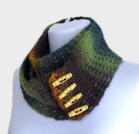 Fashion Crochet Infinity Scarf,  Scarf For Women, christmas gift,  brown and green