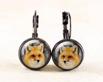 Red Fox Earrings - Forest Animal Jewelry, Fox Photo Earrings, Wildlife Photography Jewelry, Fox Gifts, Nature Earrings, Animal Earrings