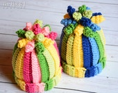 CROCHET PATTERN - Tutti Frutti - a colorful hat with corkscrews in 5 sizes (Infant, Baby, Toddler, Child, Adult) - Instant PDF Download