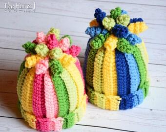 CROCHET PATTERN - Tutti Frutti - crochet hat pattern colorful crochet hat striped hat pattern (Infant - Adult sizes) - Instant PDF Download