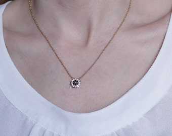 Black and White Disc Necklace - Small Round Necklace - Bridesmaids Necklaces - Black Onyx Necklace