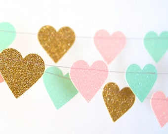 Hearts  Glitter Paper Garland in Gold, Blush and Mint, Double-Sided, Bridal Shower, Baby Shower, Party Decorations, Birthday Decoration
