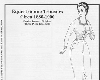 PP901 - Past Patterns #901, 1880-1900 Riding Habit Trousers Sewing Pattern