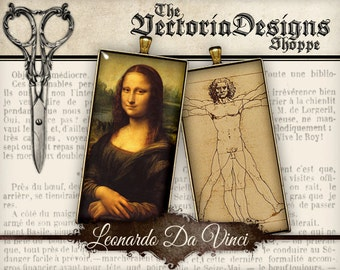 Leonardo Da Vinci Images - Domino / 1 inch square / Scrabble Tile - VDSQVI0112