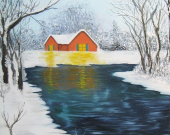Campitelli Original Snowy Landscape 2 oil painting on canvas snow stream trees little house
