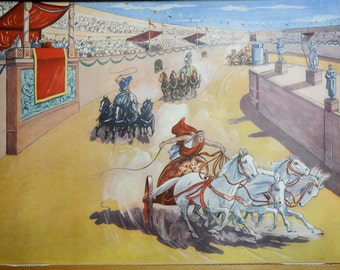 Double-sided Rossignol Vintage French School  poster of a Roman Village and a Chariot Race