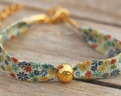Liberty of London Summer Ditsy Floral Gold Charm Bracelet