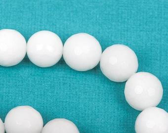 10mm Round Faceted WHITE JADE Gemstone Beads, full strand gjd0116