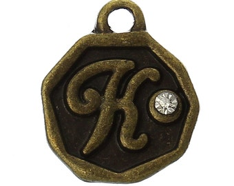 "4 pcs Letter K Monogram Wax Seal Bronze Charm Tags, with crystal rhinestone, 3/8""  chb0347"