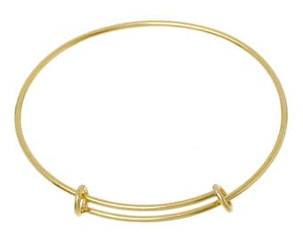 1 Gold Plated Stainless Steel Bangle Charm Bracelet, adjustable size expands to fit small to medium wrist, thick 14 gauge, fin0428a