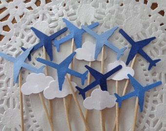 24 Mixed Blue Airplane and Cloud Cupcake Toppers - Food Picks - Party Picks
