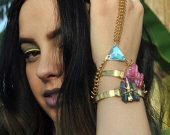 The Power of Three Iridescent Pink Quartz Cuff Bracelet Boho Brass Festival Fashion Coachella