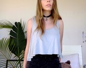 Light Blue Grey Cropped Singlet Top With Draped Uneven Hem