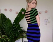 Striped Bodycon Tight Dress With Cutout Back Blue Black And Green With Short Sleeves