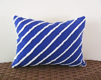 OCEAN BLUE nautical pillow cover, blue white striped cushion cover, 12 X 16 pillow case, vintage chenille pillow cover, beach house pillow