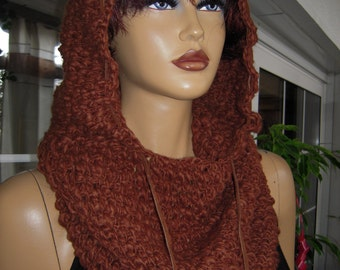 hoodie teddy ,easy pull on style,chunky soft  handmade crochet light brown scarf/hoodie winter accessories gift idea for her by goldenyarn