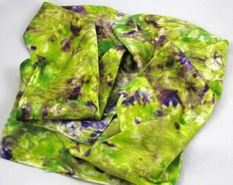 silk scarf Hand Dyed spring garden  women's silk accessories sash belt neck tie head band