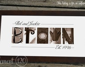 Alphabet Photography Sepia Name Print, Custom Bridal Shower Gift - 10x20 Unframed, Personalized Name Print