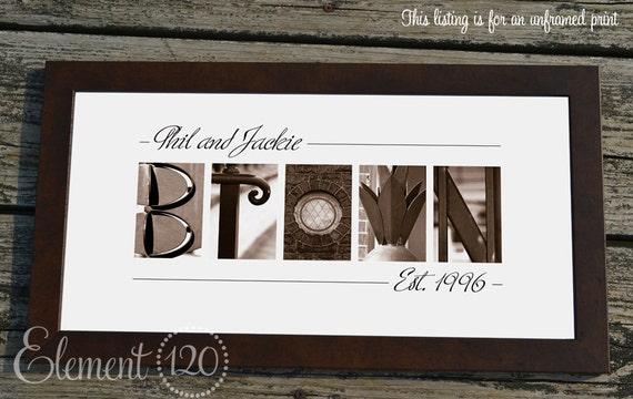 Alphabet Photography Sepia Name Print, Custom Bridal Shower Gift - 10x20 Unframed, Personalized Name Print