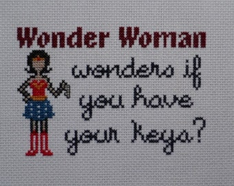 Wonder Woman Wonders Keys Reminder Cross-Stitch Pattern