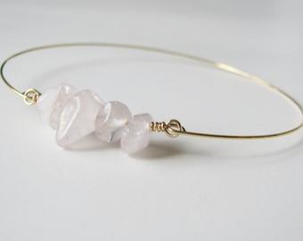 Gemstone Bracelet Rose Quartz Bracelet Stacking Bracelet Natural Stone Jewelry Gifts For Women Beach Jewelry Pink Bohemian Jewelry Boho Chic