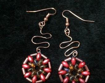 Beaded Dangle Earrings in Coral, Topaz and Copper
