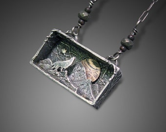 Wolf Necklace, Wolf Pendant, Wolf Jewelry, Moon Jewelry, Mokume Gane, Pyrite, Mountain Jewelry, Mountain Necklace, Shadow Box