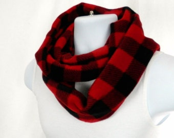 NEW Red and Black Buffalo Check Plaid  Infinity Scarf Double Loop Circle Scarf For Men and Women Hunter Woodland Scarf