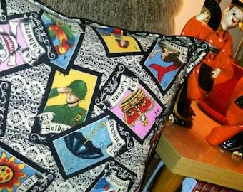 Loteria throw pillow...Mexican bingo, El Borracho, El Diablito