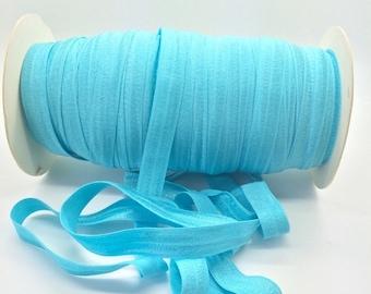 "Fold Over Elastic Blue Cyan #317 FOE 5 yds  Shiny FOE 5/8"" inch Baby Headbands Hair Ties Satin Elastic Soft Elastic FOE"